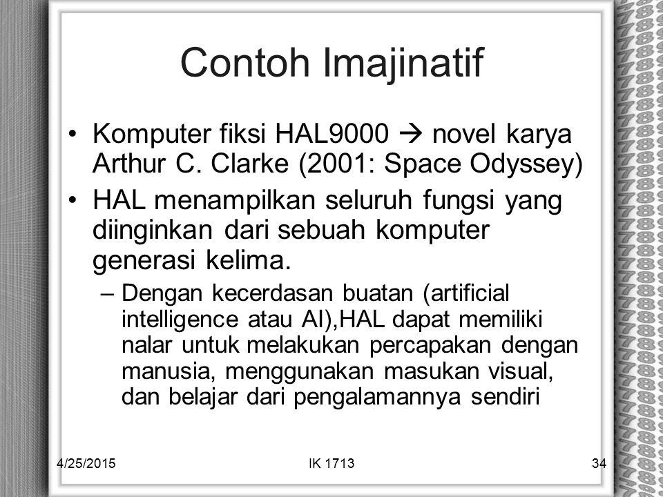 Contoh Imajinatif Komputer fiksi HAL9000  novel karya Arthur C. Clarke (2001: Space Odyssey)