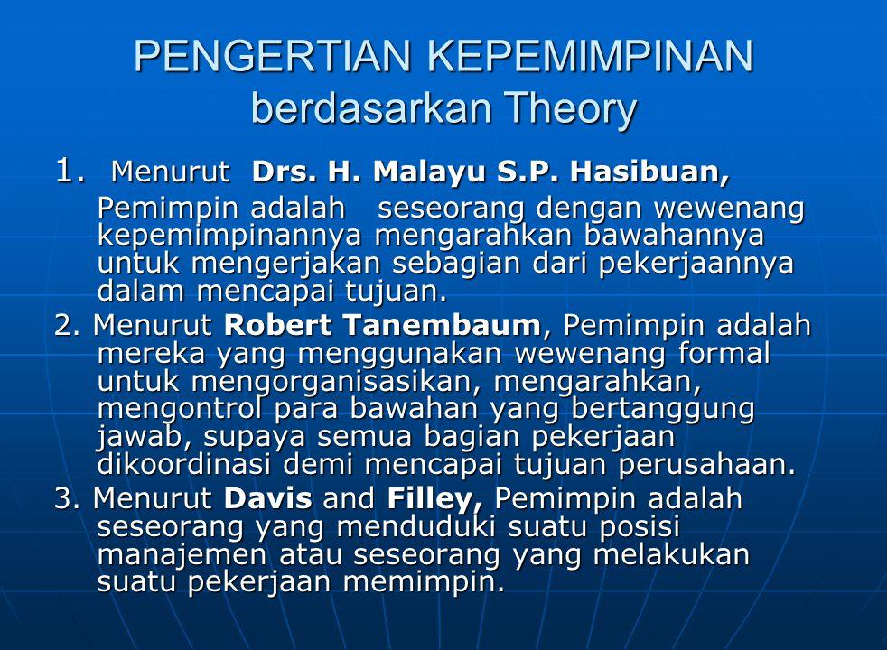 PENGERTIAN KEPEMIMPINAN berdasarkan Theory