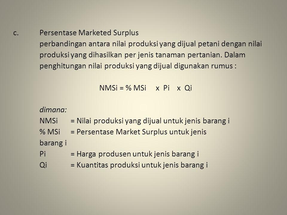 Persentase Marketed Surplus perbandingan antara nilai produksi yang dijual petani dengan nilai produksi yang dihasilkan per jenis tanaman pertanian.