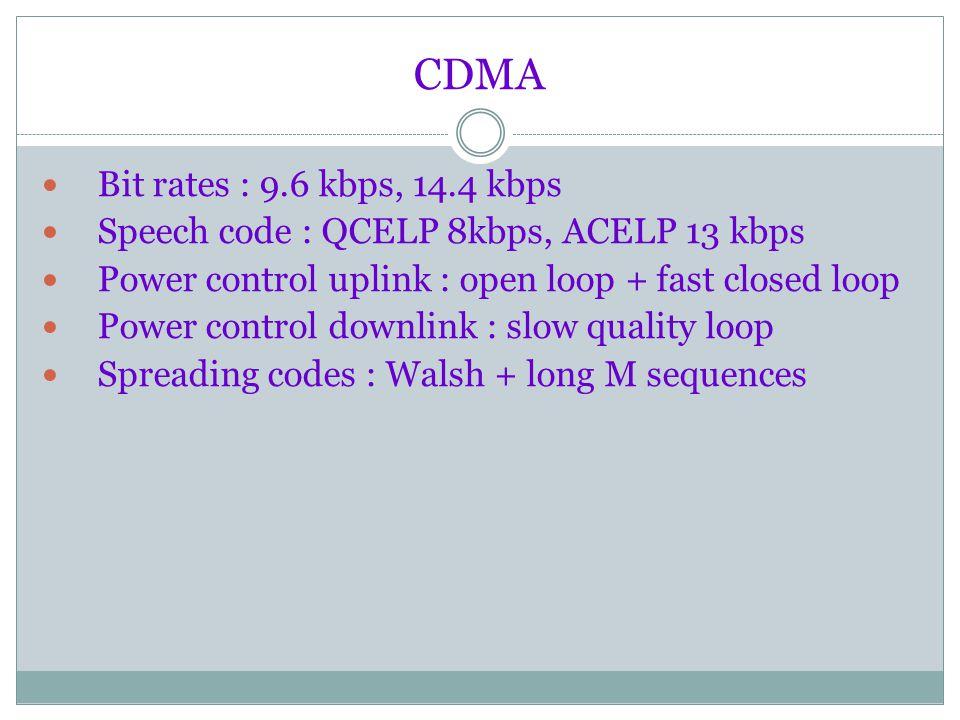 CDMA Bit rates : 9.6 kbps, 14.4 kbps