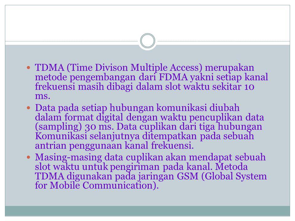 TDMA (Time Divison Multiple Access) merupakan metode pengembangan dari FDMA yakni setiap kanal frekuensi masih dibagi dalam slot waktu sekitar 10 ms.