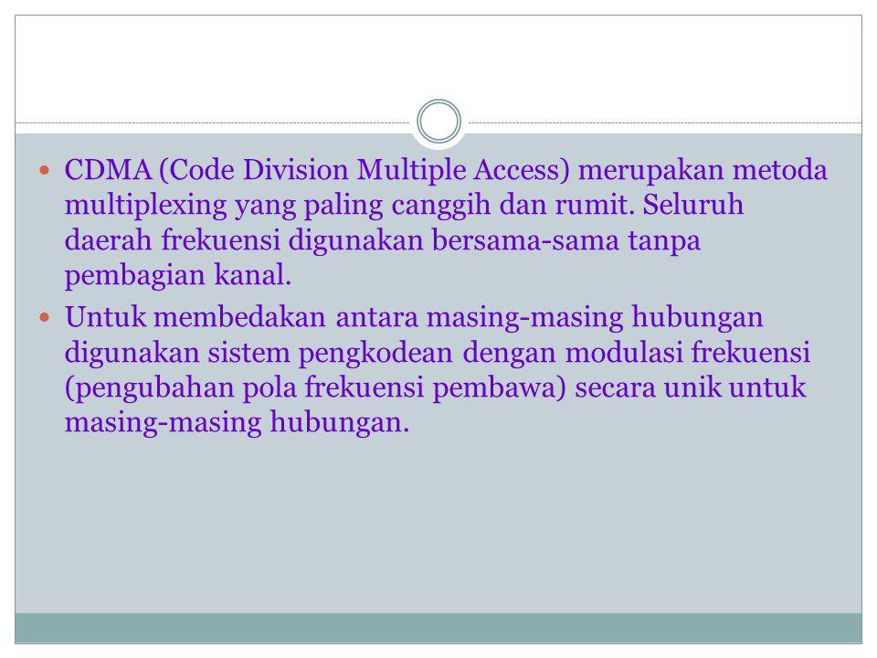 CDMA (Code Division Multiple Access) merupakan metoda multiplexing yang paling canggih dan rumit. Seluruh daerah frekuensi digunakan bersama-sama tanpa pembagian kanal.