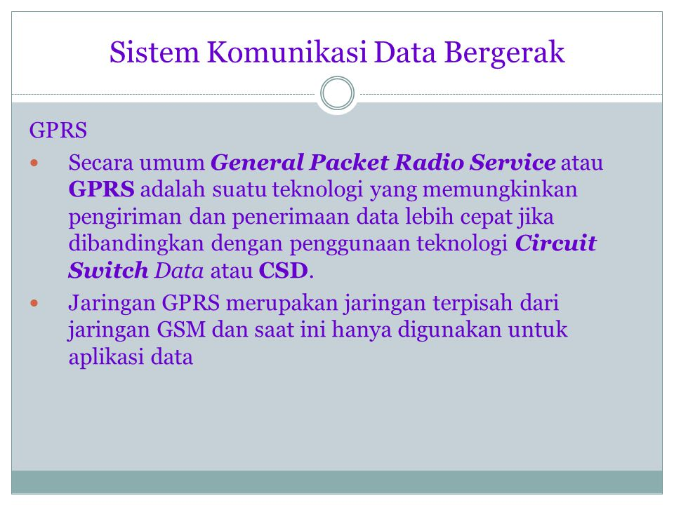 Sistem Komunikasi Data Bergerak