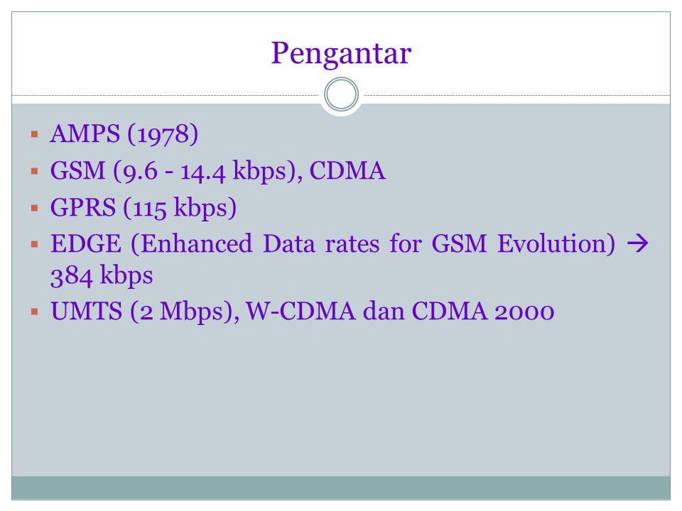 Pengantar AMPS (1978) GSM (9.6 - 14.4 kbps), CDMA GPRS (115 kbps)
