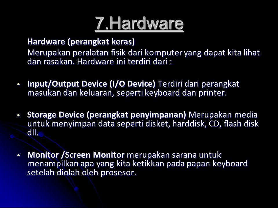 7.Hardware Hardware (perangkat keras)