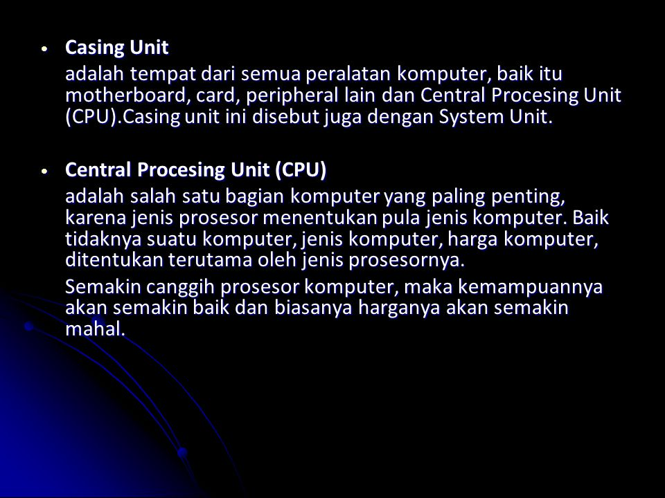 Casing Unit