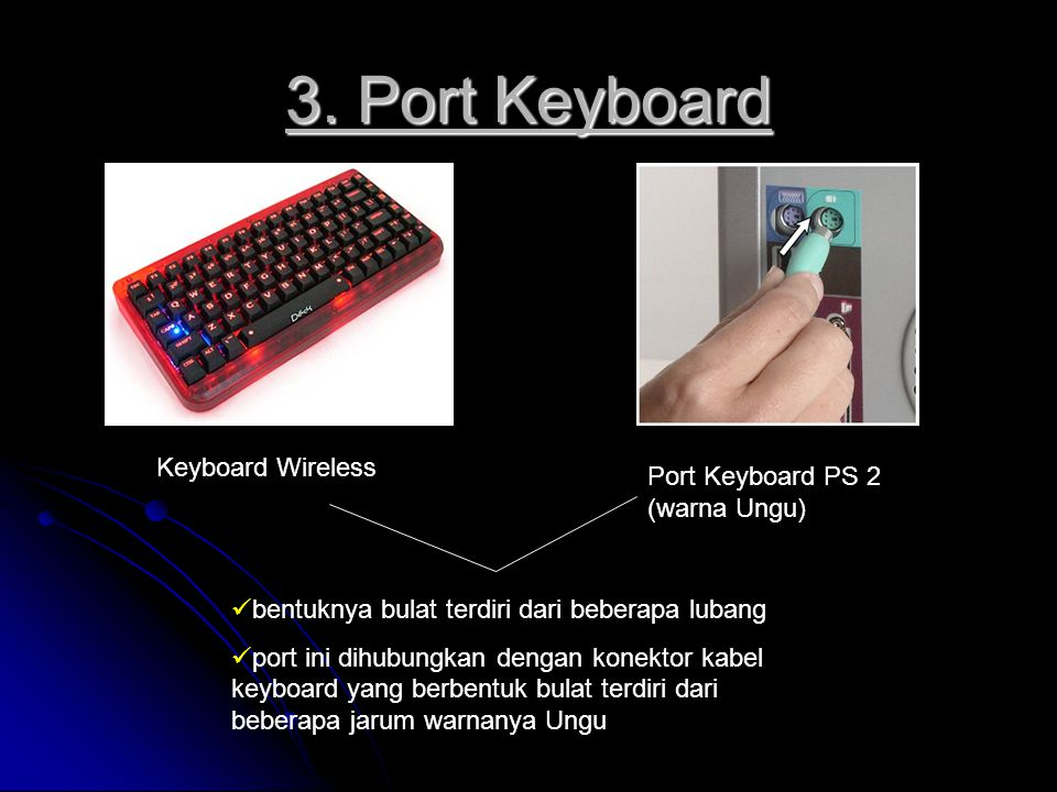 3. Port Keyboard Keyboard Wireless Port Keyboard PS 2 (warna Ungu)