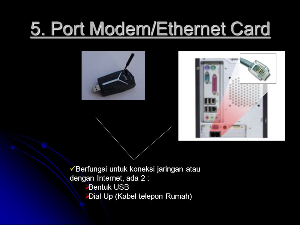 5. Port Modem/Ethernet Card