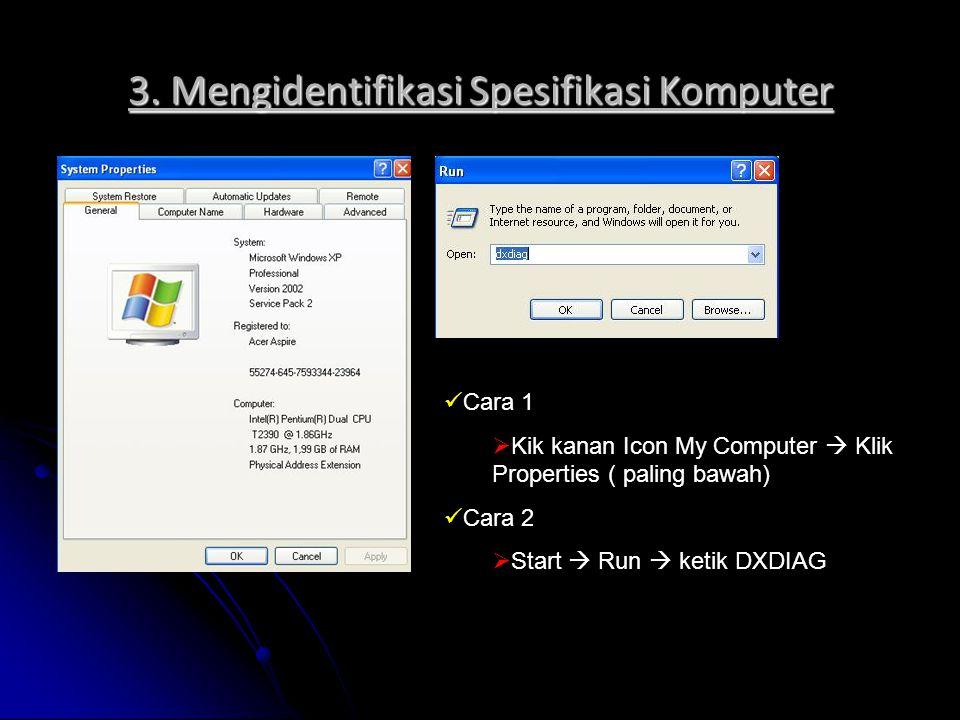 3. Mengidentifikasi Spesifikasi Komputer