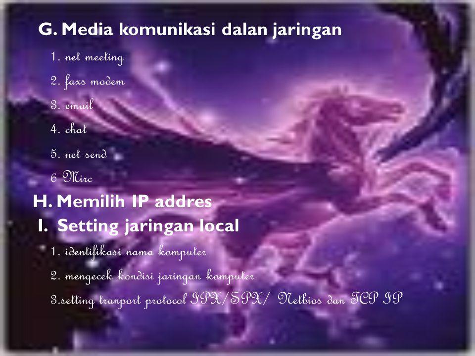 G. Media komunikasi dalan jaringan