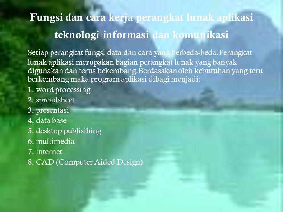 Fungsi dan cara kerja perangkat lunak aplikasi teknologi informasi dan komunikasi