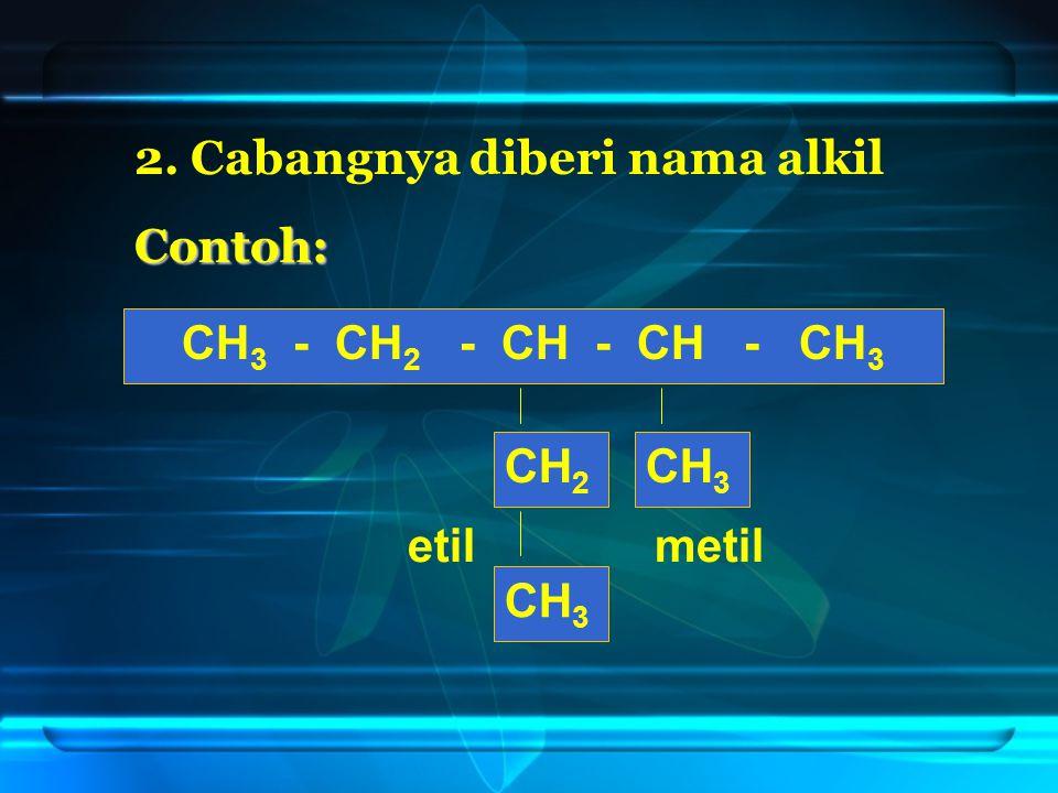 2. Cabangnya diberi nama alkil