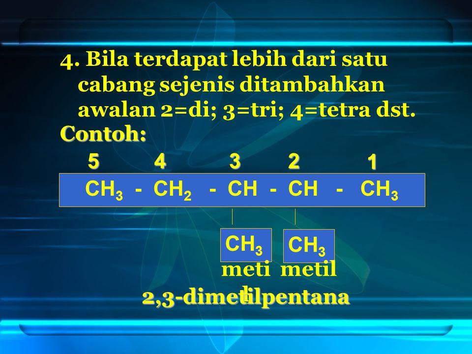 4. Bila terdapat lebih dari satu cabang sejenis ditambahkan awalan 2=di; 3=tri; 4=tetra dst.