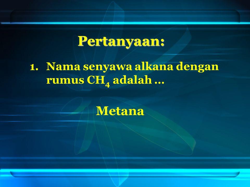 Pertanyaan: Nama senyawa alkana dengan rumus CH4 adalah … Metana