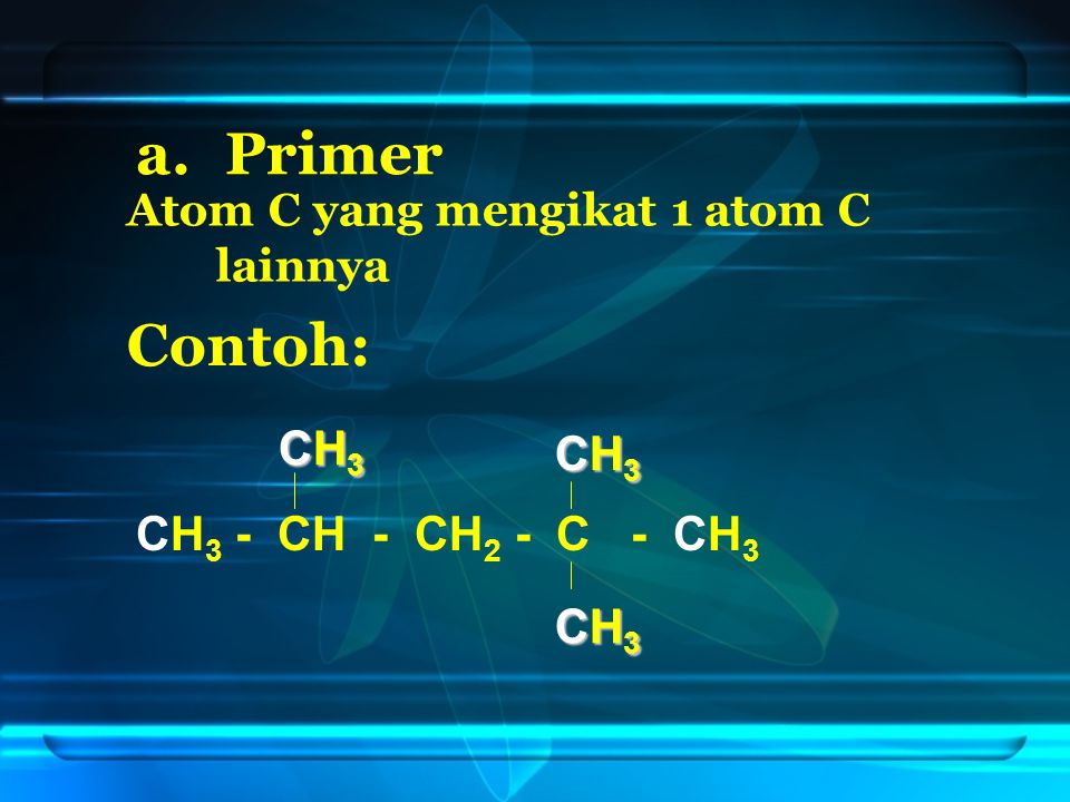 Primer Contoh: CH3 CH3 CH3 - CH - CH2 - C - CH3 CH3