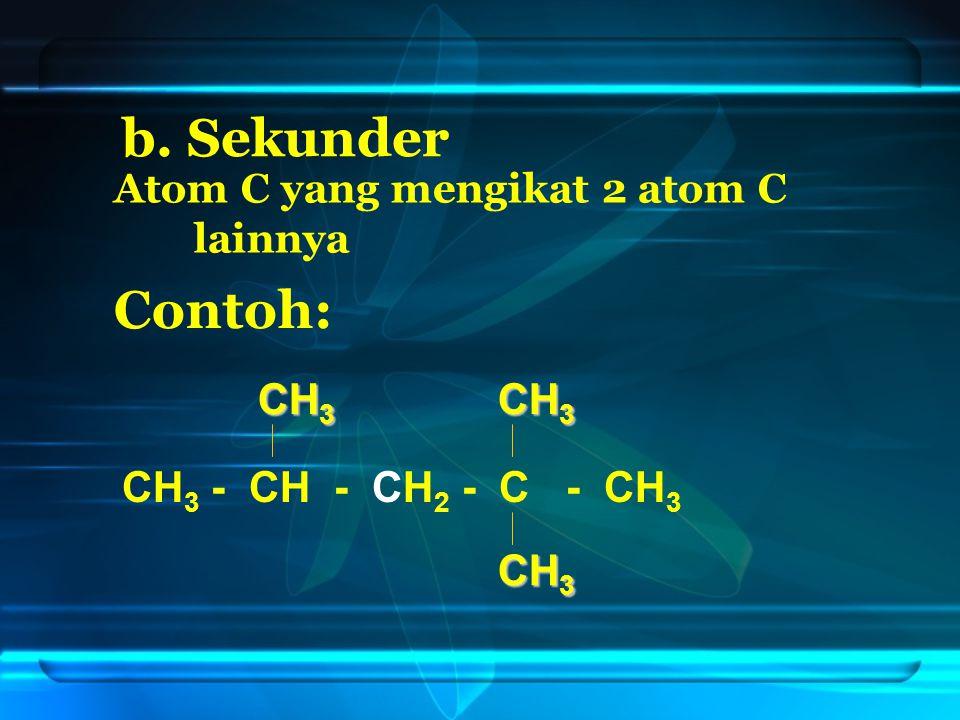 b. Sekunder Contoh: CH3 CH3 CH3 - CH - CH2 - C - CH3 CH3