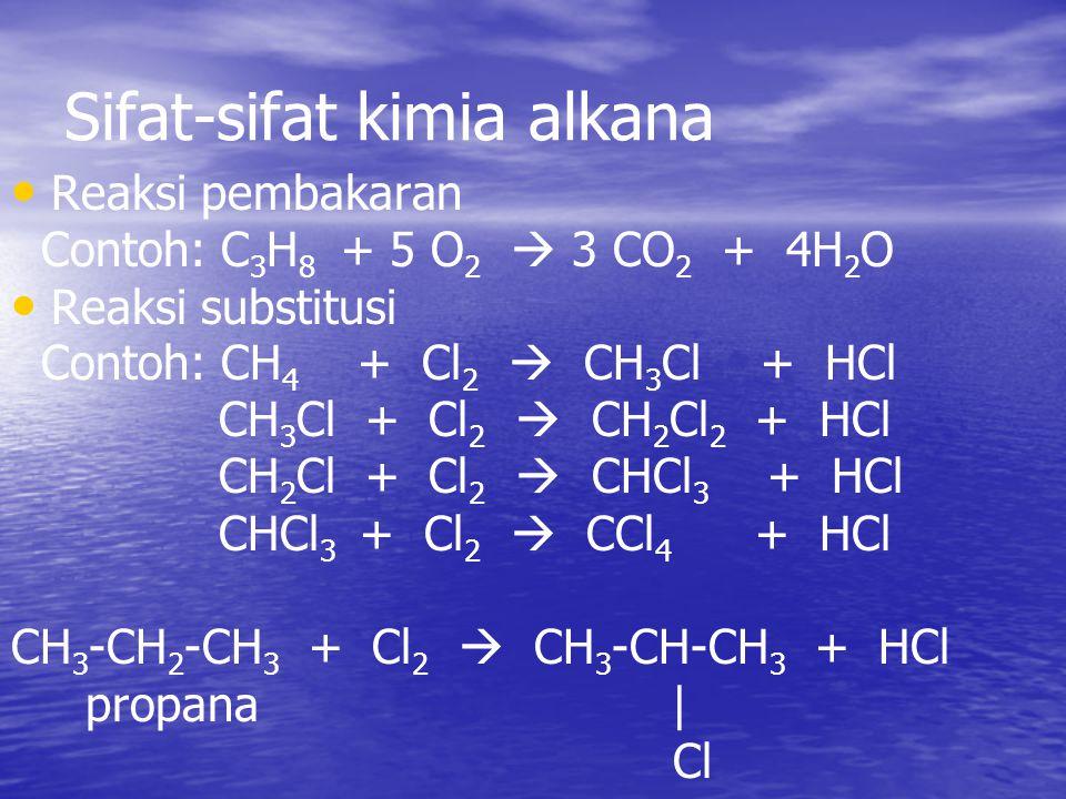 Sifat-sifat kimia alkana