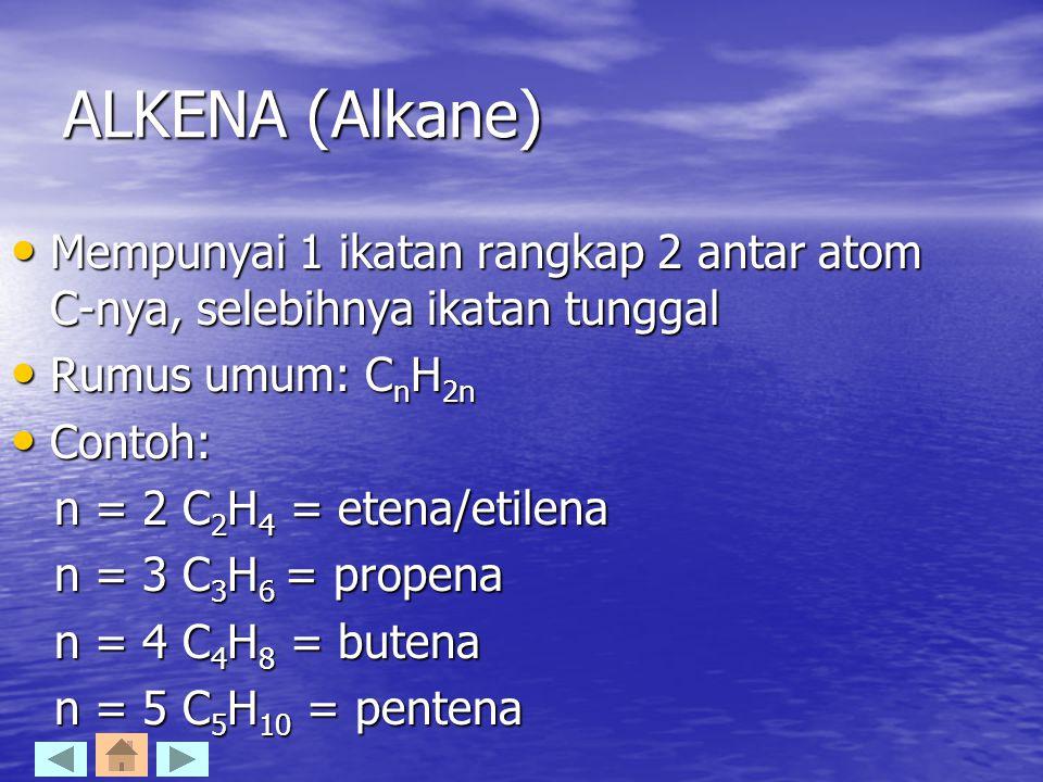 ALKENA (Alkane) Mempunyai 1 ikatan rangkap 2 antar atom C-nya, selebihnya ikatan tunggal. Rumus umum: CnH2n.