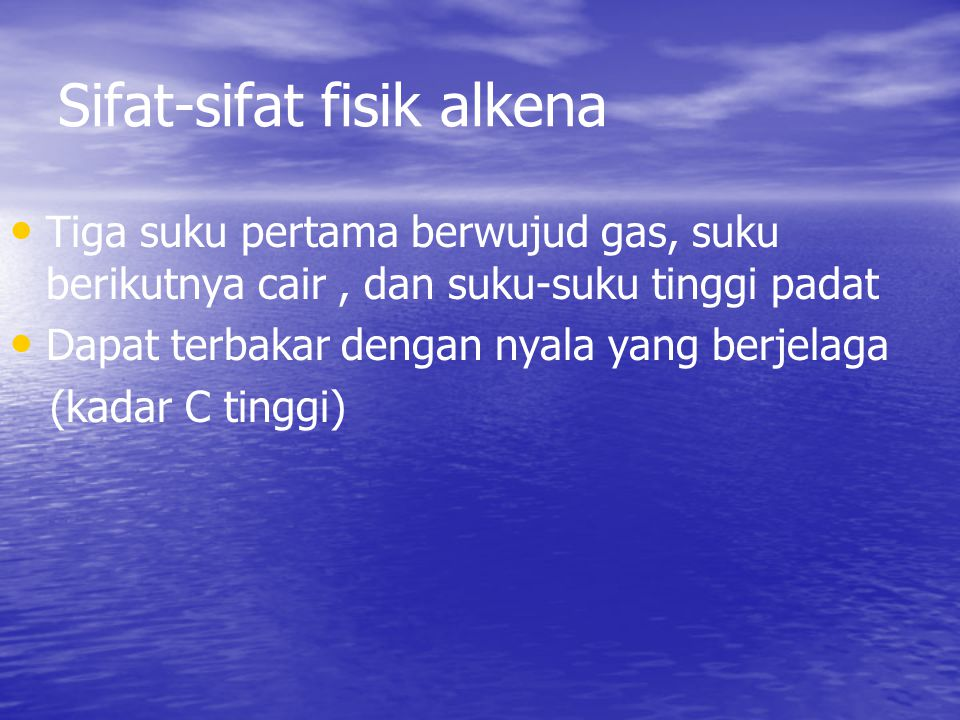 Sifat-sifat fisik alkena