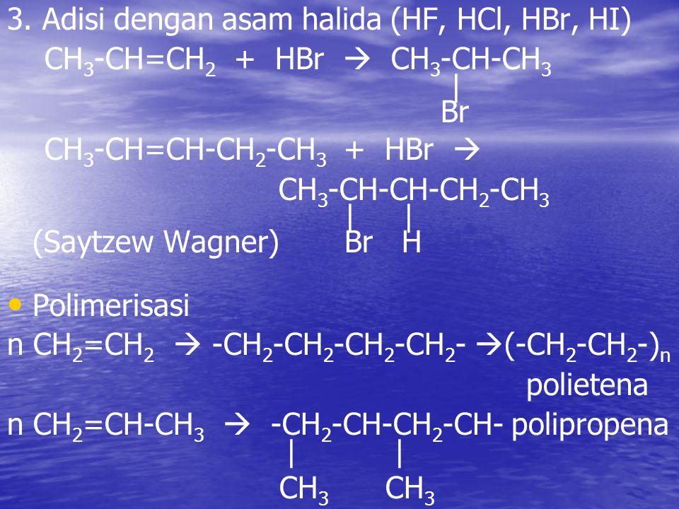 3. Adisi dengan asam halida (HF, HCl, HBr, HI)