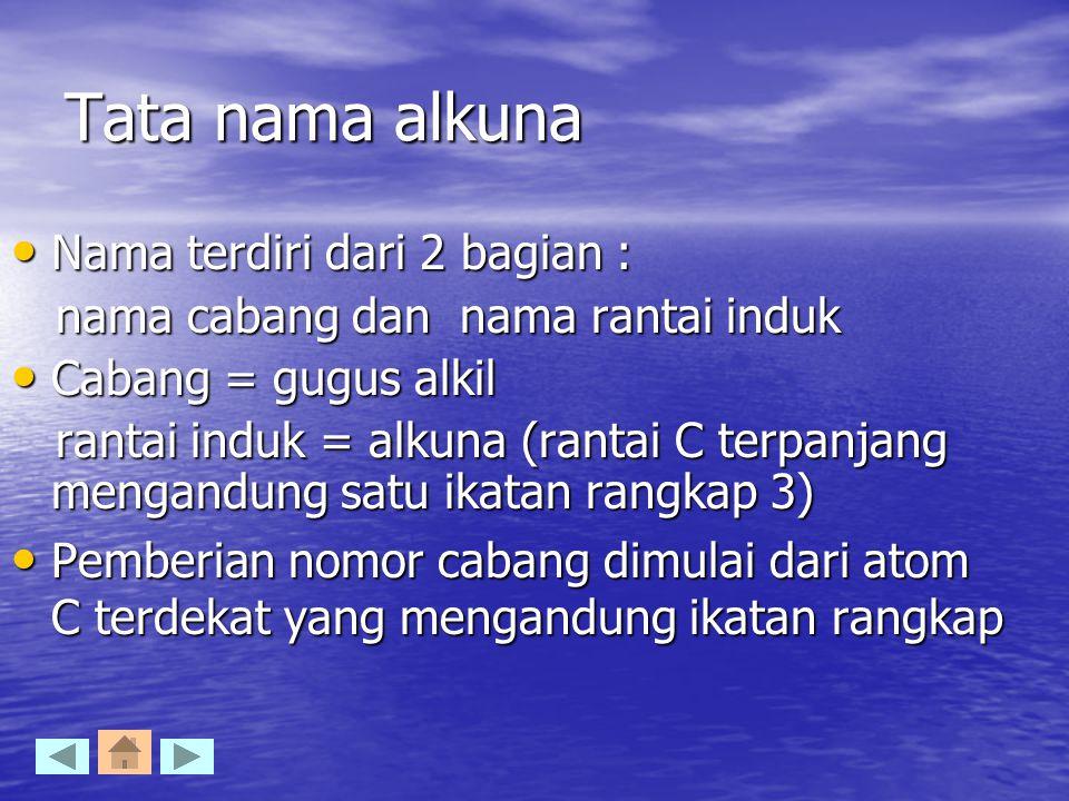 Tata nama alkuna Nama terdiri dari 2 bagian :