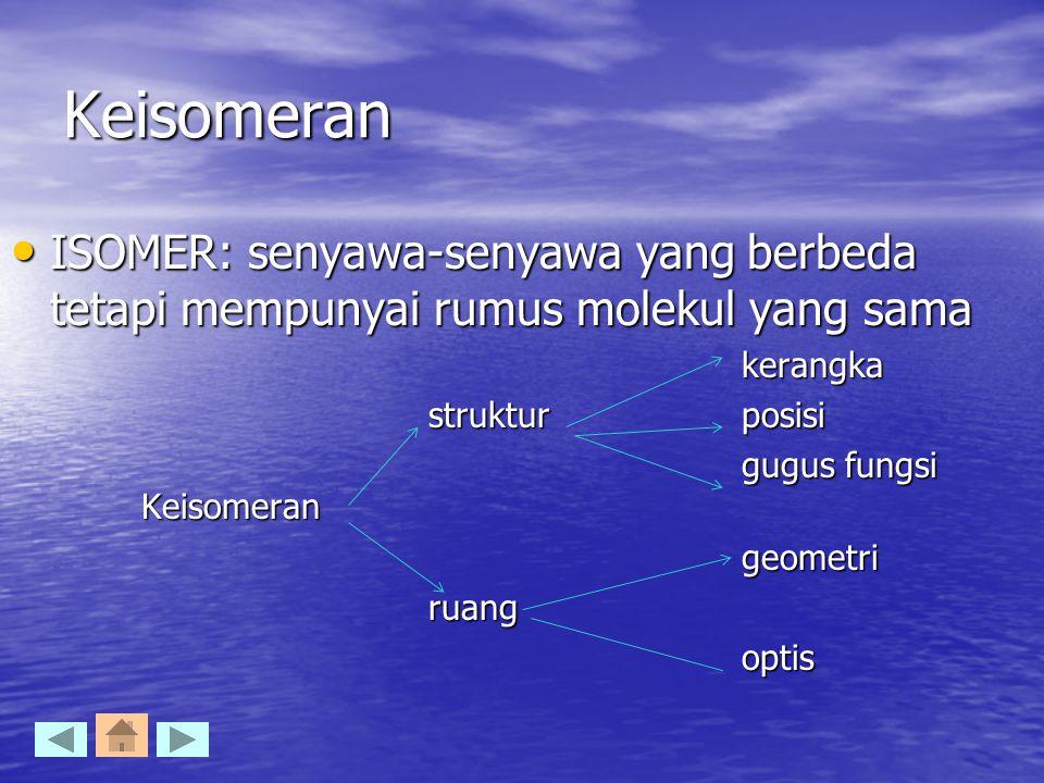 Keisomeran ISOMER: senyawa-senyawa yang berbeda tetapi mempunyai rumus molekul yang sama. kerangka.
