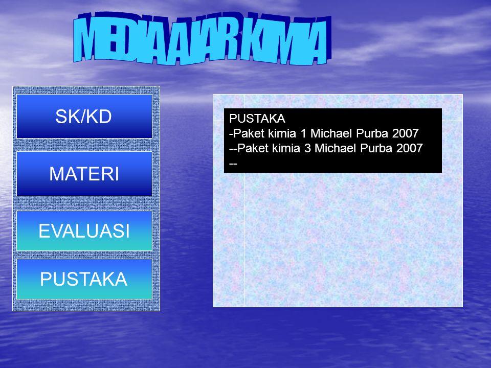 MEDIA AJAR KIMIA SK/KD MATERI EVALUASI PUSTAKA PUSTAKA PUSTAKA