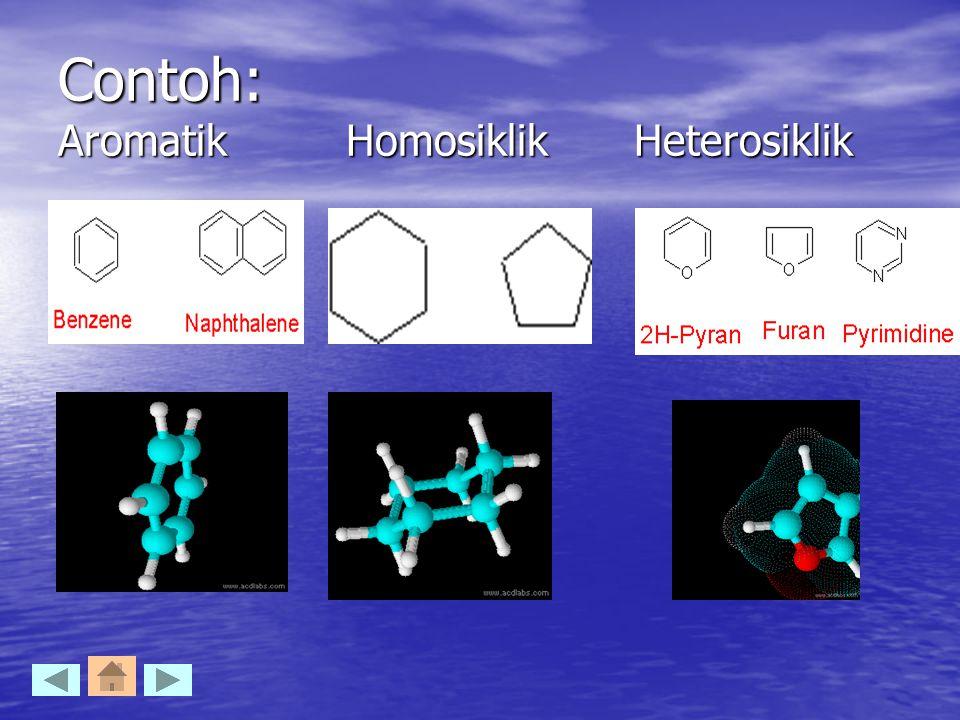 Contoh: Aromatik Homosiklik Heterosiklik