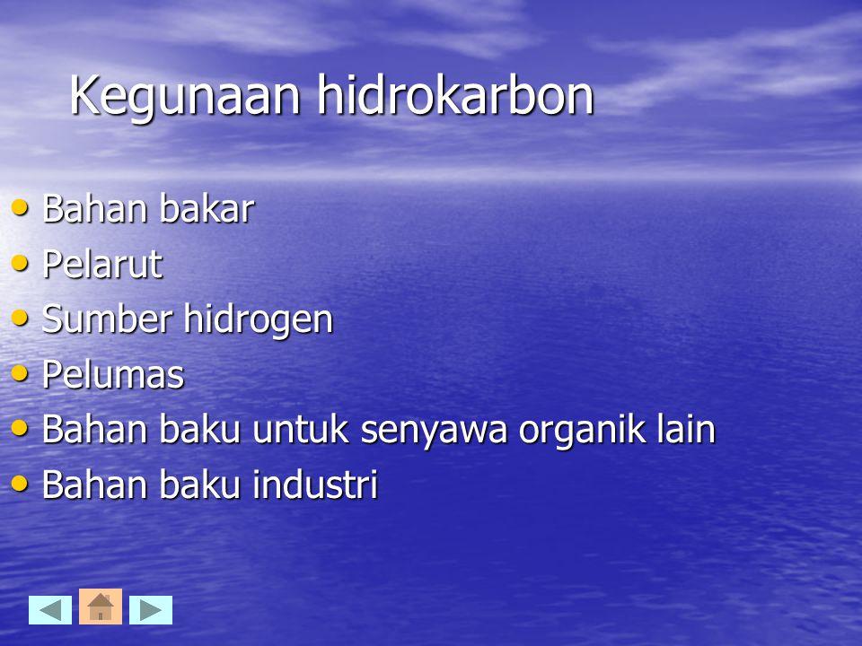 Kegunaan hidrokarbon Bahan bakar Pelarut Sumber hidrogen Pelumas