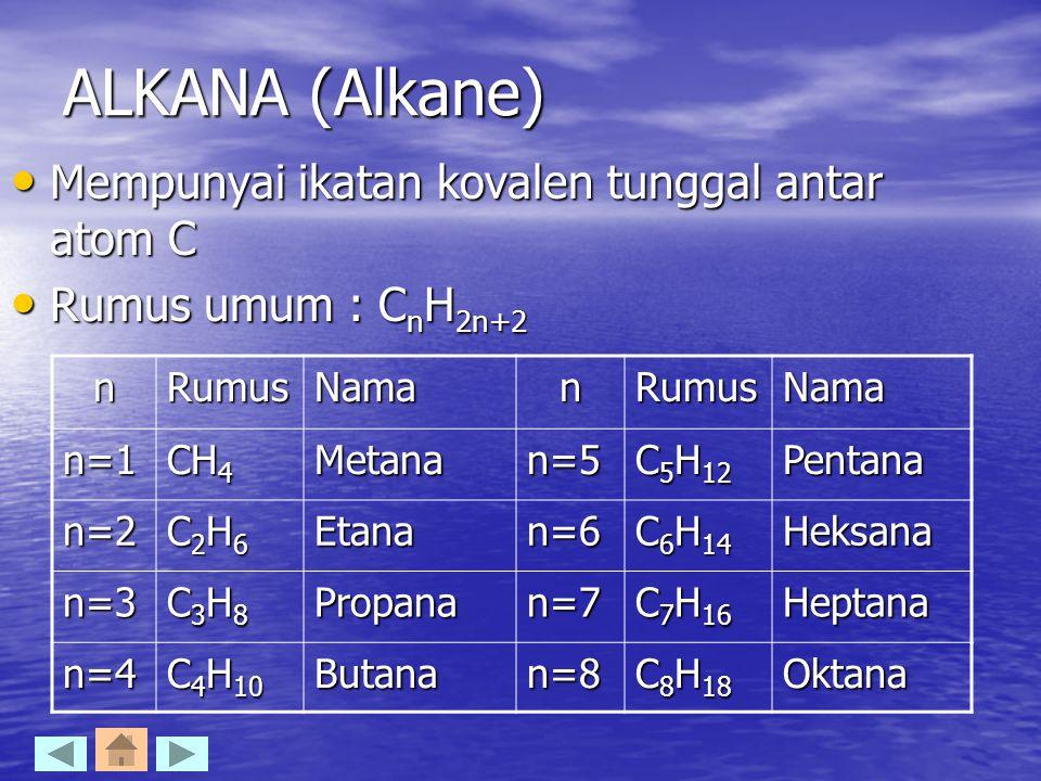 ALKANA (Alkane) Mempunyai ikatan kovalen tunggal antar atom C