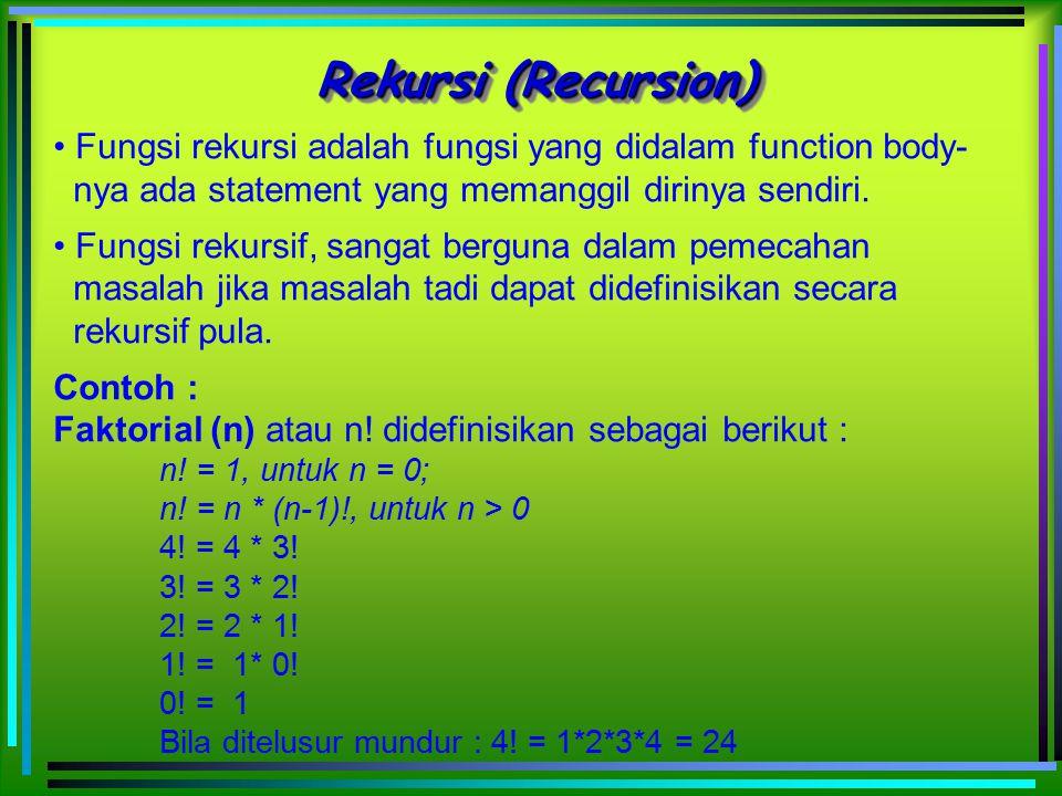 Rekursi (Recursion) Fungsi rekursi adalah fungsi yang didalam function body- nya ada statement yang memanggil dirinya sendiri.