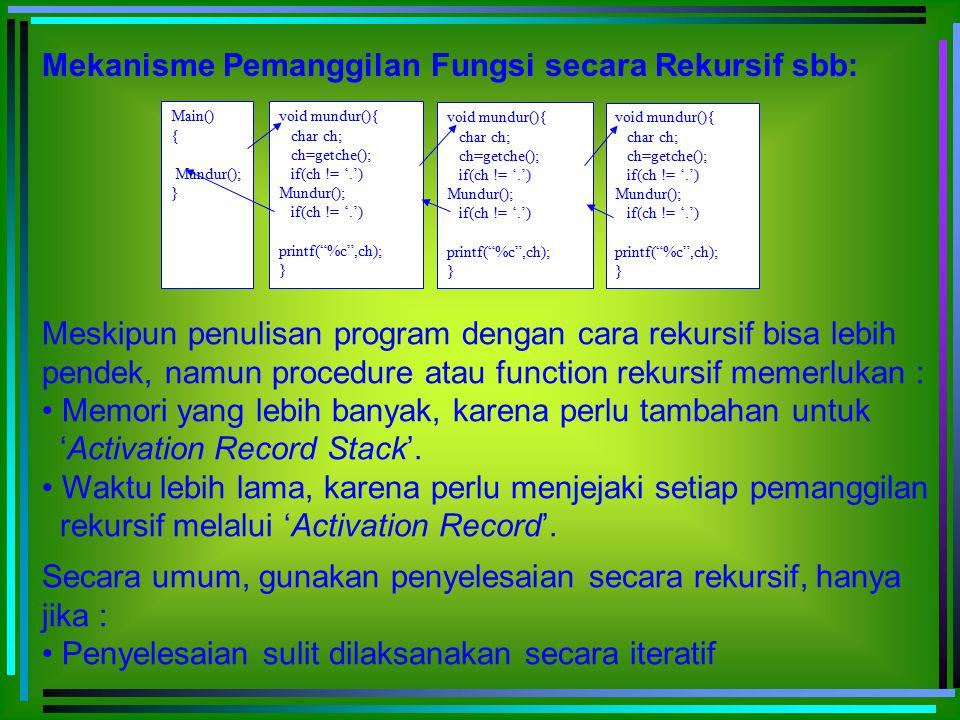 Mekanisme Pemanggilan Fungsi secara Rekursif sbb:
