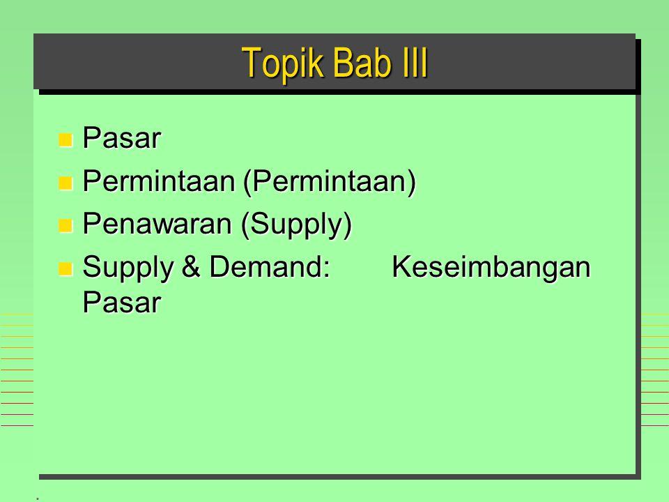 Topik Bab III Pasar Permintaan (Permintaan) Penawaran (Supply)