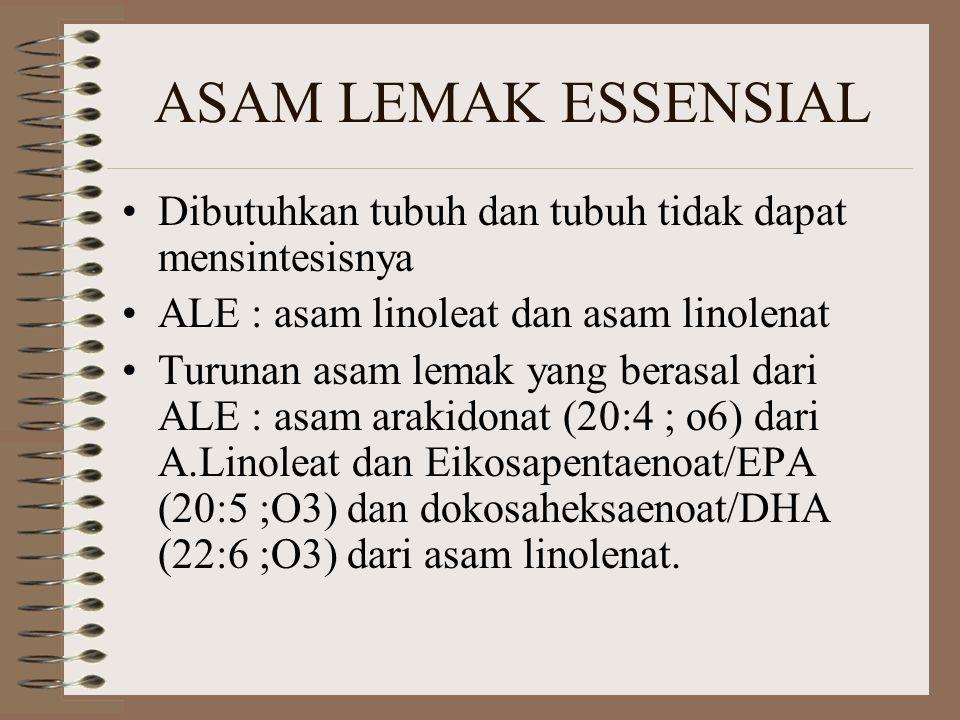 ASAM LEMAK ESSENSIAL Dibutuhkan tubuh dan tubuh tidak dapat mensintesisnya. ALE : asam linoleat dan asam linolenat.