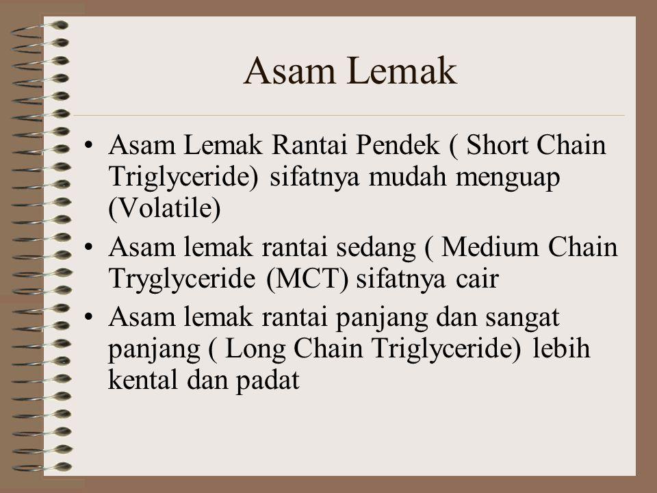Asam Lemak Asam Lemak Rantai Pendek ( Short Chain Triglyceride) sifatnya mudah menguap (Volatile)