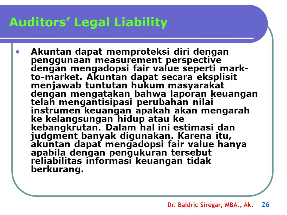 Auditors' Legal Liability