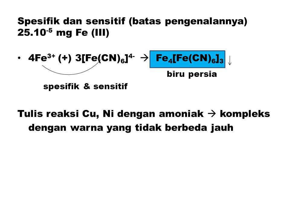 Spesifik dan sensitif (batas pengenalannya) 25.10-5 mg Fe (III)