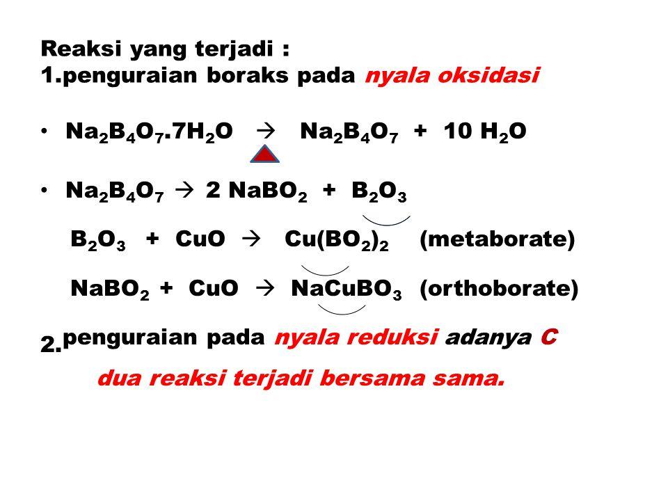 Reaksi yang terjadi : 1.penguraian boraks pada nyala oksidasi