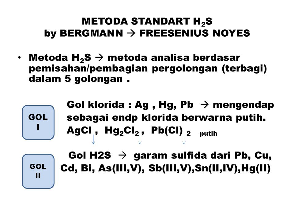 METODA STANDART H2S by BERGMANN  FREESENIUS NOYES