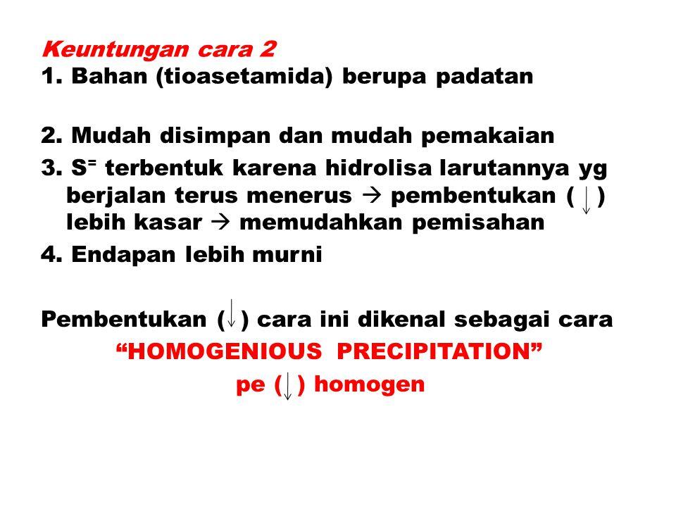 Keuntungan cara 2 1. Bahan (tioasetamida) berupa padatan