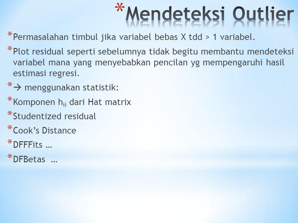 Mendeteksi Outlier Permasalahan timbul jika variabel bebas X tdd > 1 variabel.