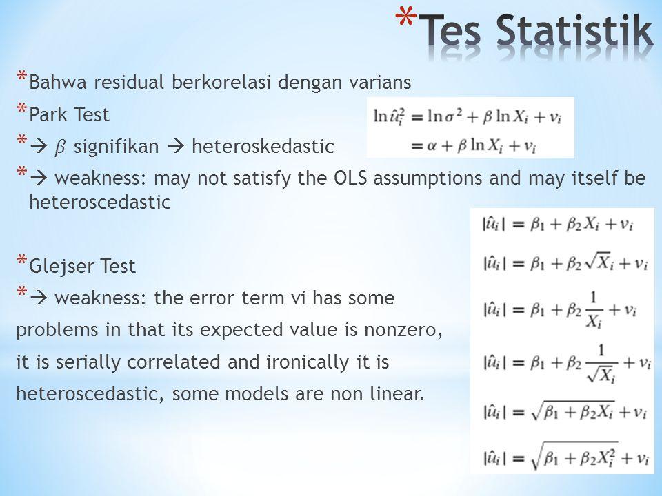 Tes Statistik Bahwa residual berkorelasi dengan varians Park Test