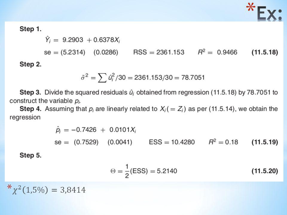 Ex: 𝜒 2 1,5% =3,8414
