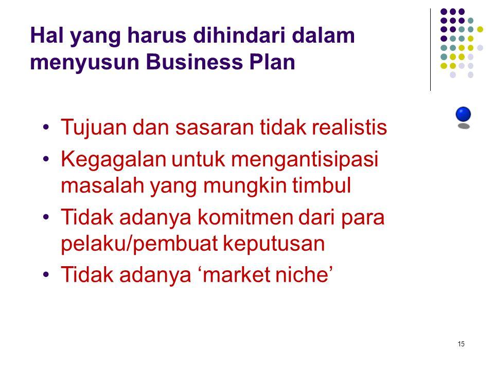 Hal yang harus dihindari dalam menyusun Business Plan
