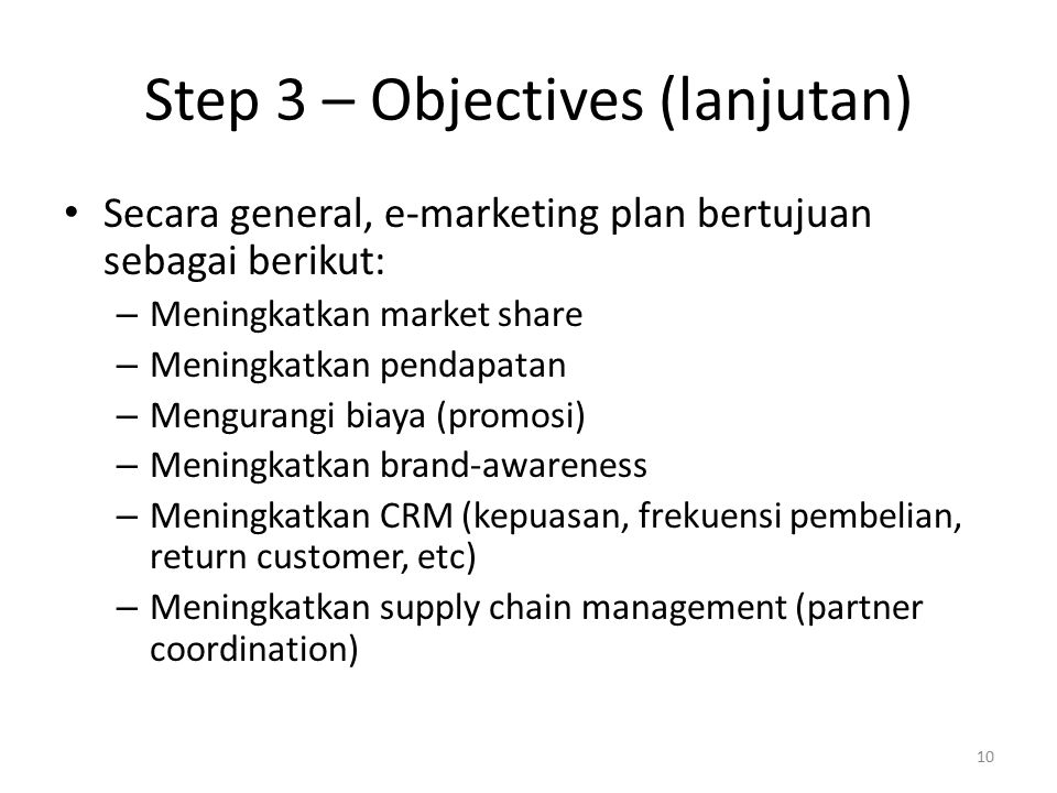Step 3 – Objectives (lanjutan)