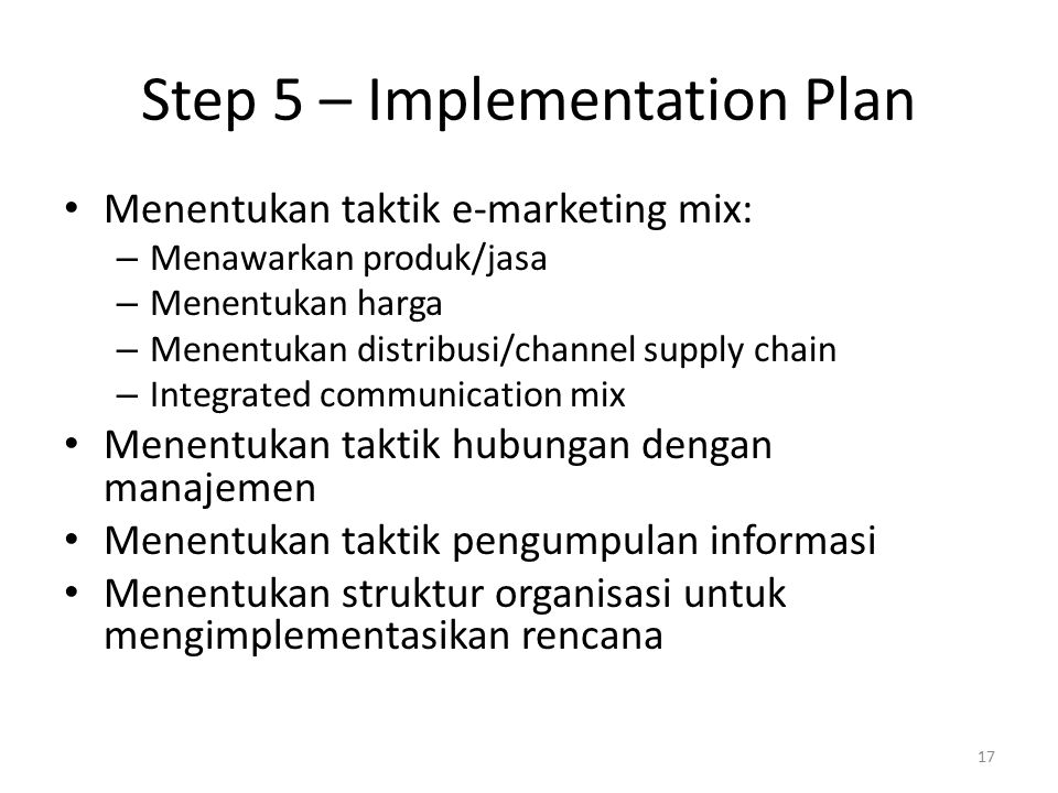 Step 5 – Implementation Plan