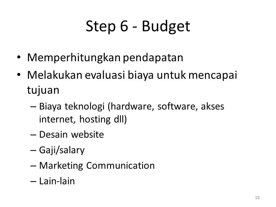 Step 6 - Budget Memperhitungkan pendapatan