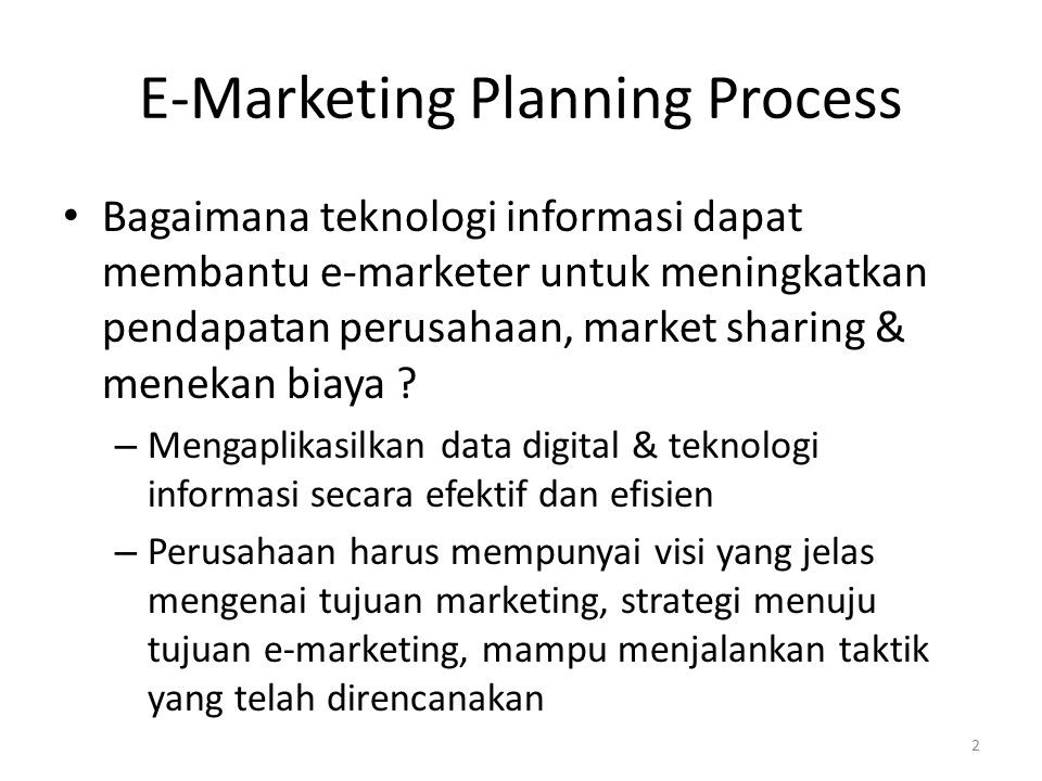 E-Marketing Planning Process