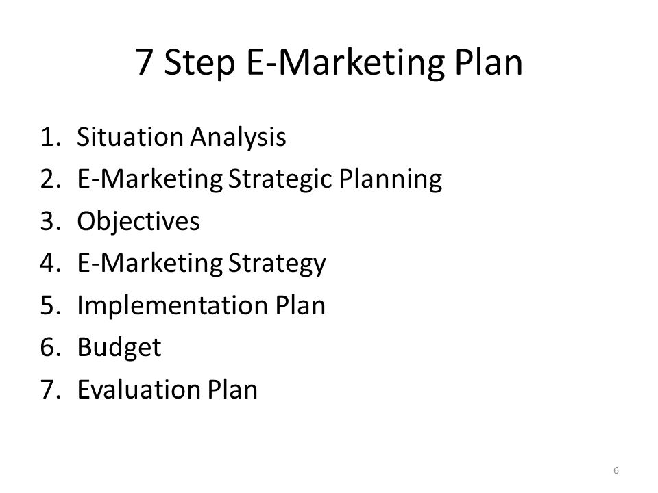 7 Step E-Marketing Plan Situation Analysis
