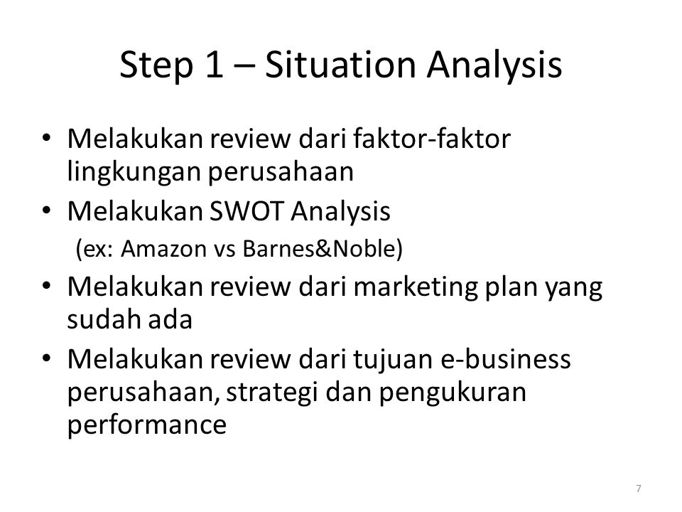 amazon com situation analysis Swot analysis amazon amazon is a profitable organization in 2005 profits for the three months to june dipped 32% to $52m (£299m) from $76m in the same period in 2004.